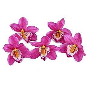 False Silk Orchid Flower Heads Artificial Vivid Flower Decor for Home Garden Party Wedding 11cm Diameter Purple 20Pcs 92
