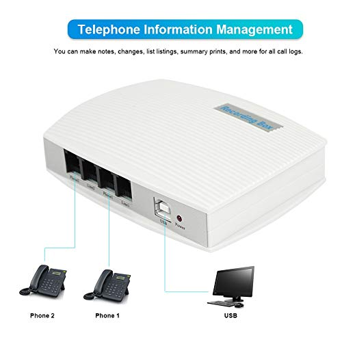 fosa Telephone Calls Voice Recorder, 2-Channel USB Telephone Landline Recorder Voice Activated Phone Logger Monitor Work with Windows 7/XP/VISTA/2000/2003 Operating System