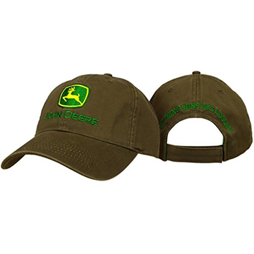 Embroidered Tractor - John Deere Embroidered Trademark Logo Brown Hat