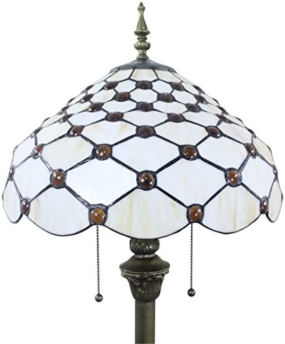 SINCERE@ Tiffany 16-Inch European Retro Stained Glass White Pearl Series Floor Lamp