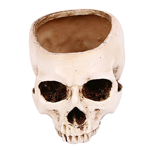 Vivid Styling Halloween Skull Head Shaped Flower Pot Planter Box Container Replica Ashtray Home Bar Halloween Decoration Props Ordinary Style