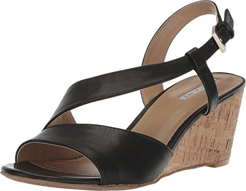 Tahari Women's Ta-Sally Wedge Sandal, Black, 10 M (Asymmetrical Leather Sandals)