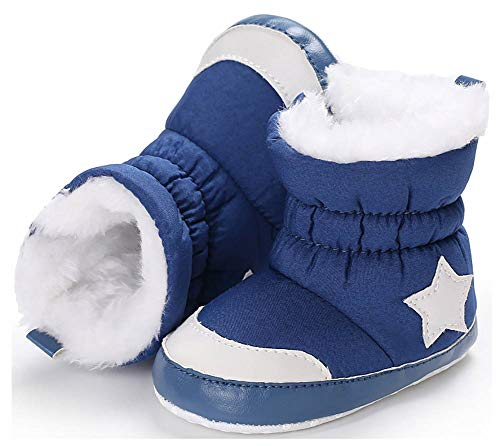 (Anrenity Baby Girls Boys Faux Fur Warm Winter Boots Zipper Infant Soft Sole Snow Boots Crib Shoes BBS-016 Blue 6-12 Months)