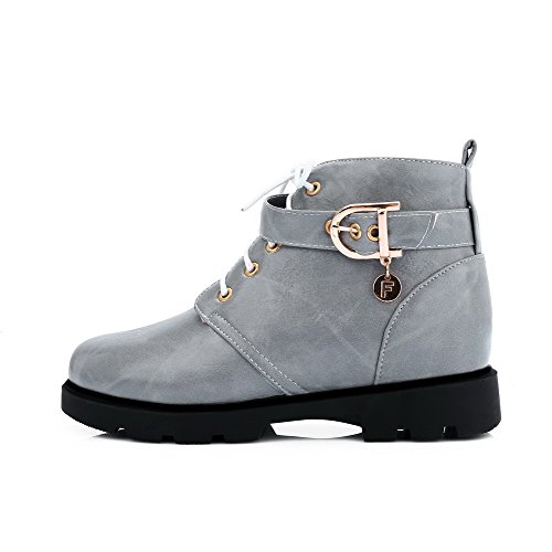 Solid Boots Gray Heels Round Womens Toe Zipper Low AmoonyFashion Closed Top Low FwHqTqS