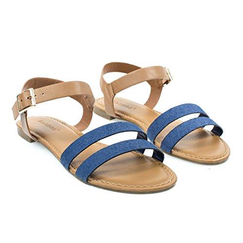 Sandalo Flat Da Donna Con Doppio Cinturino Anteriore E Cinturino Alla Caviglia Bluedenim