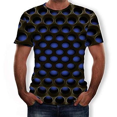 NIUQI Men's Summer 3D Printed Short Sleeves Fashion Comfort Blouse Top