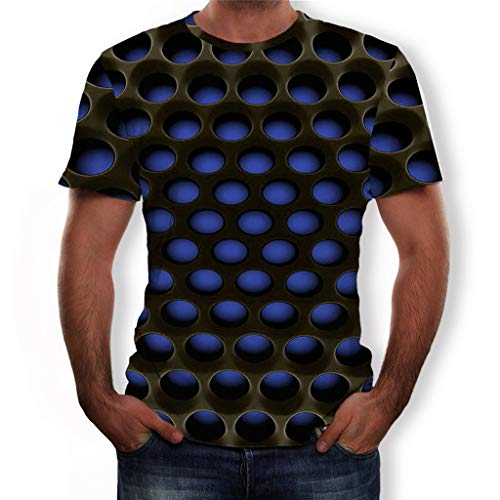 NIUQI Men's Summer 3D Printed Short Sleeves Fashion Comfort Blouse Top Blue