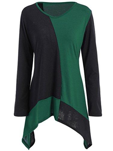 Tops Blouse Vert Col YiLianDa Asymtrique rond T Tunqiue shirt longues Femme Manches Decontracte qa7TtE