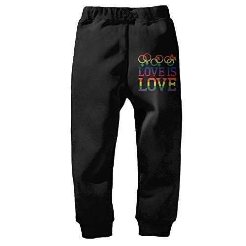 Love Is Love Rainbow Gay Lesbian PrideKid's Winter Cotton Unisex Little Boys' Girls' Active Basic Jogger Pants 2 Toddler by DHWEER (Image #1)