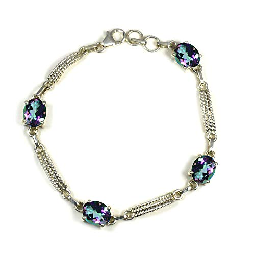 Jewelryonclick Choose Your Color Natural Gemstone Silver Bracelets for Women Fashion Jewelry Prong Style