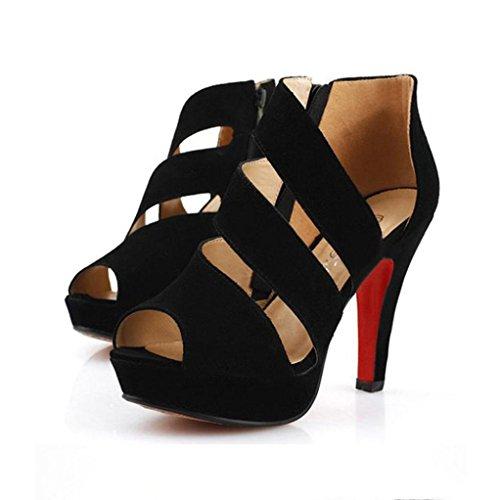 Elecenty Sandalen Damen,10cm Hoch Absatz Blockabsatz Sandalen Plattform Sommerschuh Frauen Sommer Schuhe Peep Toe Wedges Schuh Damenschuhe Shoes Sandaletten Dame Offene Freizeitschuhe Schwarz