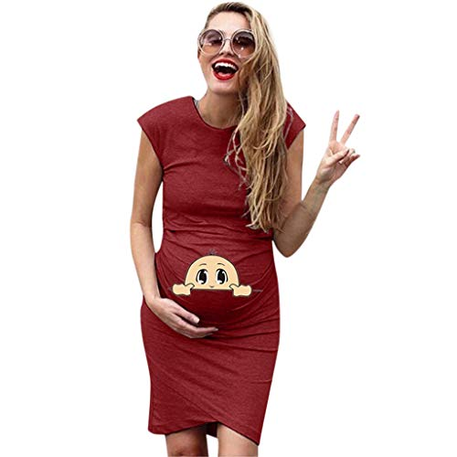Bodycon Maternity Dress Knee Length Women Elegant Fitted Short Sleeve Ruched Stretch Pregnancy Baby Shower Dress Wine -