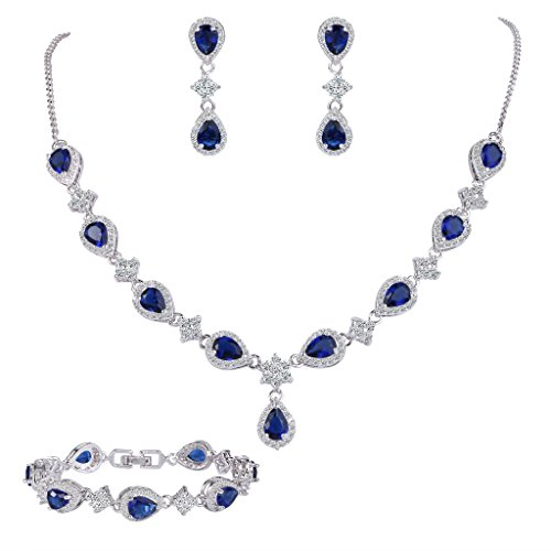 EleQueen Women's Silver-tone Cubic Zirconia Teardrop Flower Bridal V-Necklace Set Tennis Bracelet Dangle Earrings Sapphire Color by EleQueen