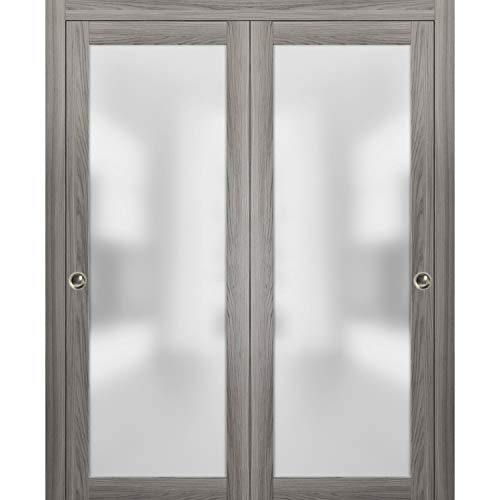 Closet Bypass Sliding Glass Doors 72 x 84   Planum 2102 Ginger Ash   Rails Trims Pulls Hardware Set   Modern Solid Core Wood Interior Doors Frosted Glass