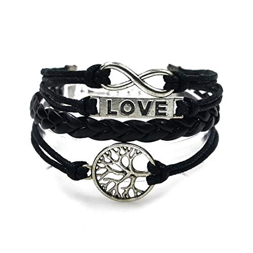 Cinlla I Love You Life Tree Black Braided Rope Faux Leather Unisex Bracelet for Women Men Girl Boy