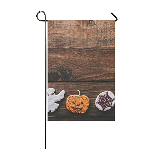 Home Decorative Outdoor Double Sided Halloween Cookies On Wooden Rustic Kitchen Garden Flag,House Yard Flag,Garden Yard Decorations,Seasonal Welcome Outdoor Flag 12 X 18 Inch Spring Summer Gift -