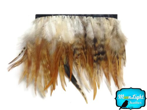 Rooster Feathers, 1 Yard - Brown Chinchilla Rooster Saddle Feather Trim