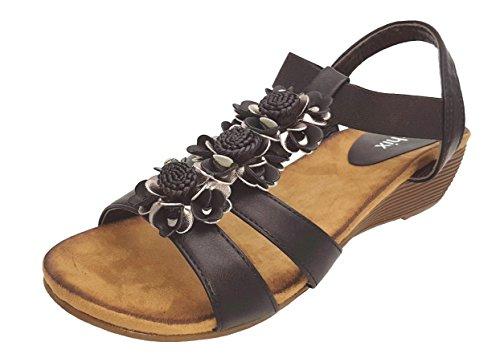 Sandalen Blumenmuster und Damen schwarzem aus chix zinnfarbenem Riemen Stretch mit 17n5q5