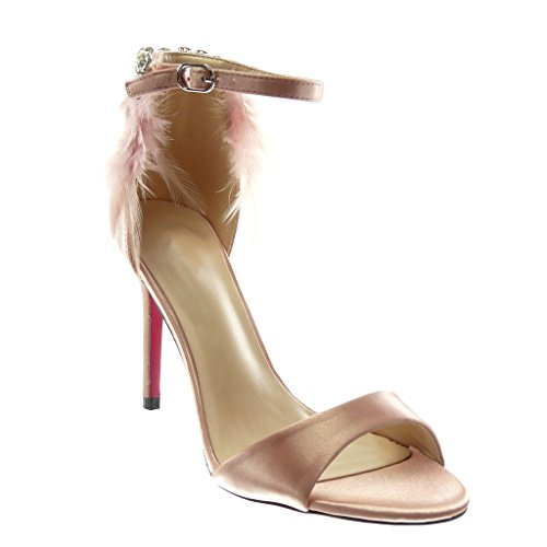 Angkorly Damen Schuhe Pumpe Sandalen - Stiletto - Knöchelriemen - Feder - Strass - String Tanga Stiletto High Heel 10 cm Rosa