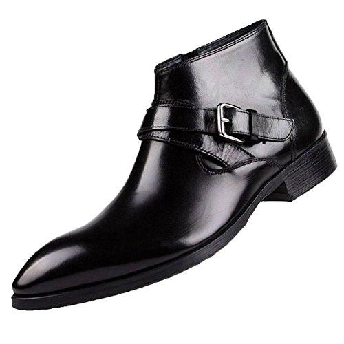 Santimon-mens Cuir Véritable À Glissière Handsewn Chaussures Daffaires Noir
