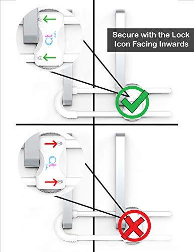 41hFS4jbqBL QT BABY Baby Proofing Cabinet Locks | Adjustable U Shaped Baby Safety Latches for Drawers, Fridge, Closet |Modern Baby Proofing Cabinet Lock with Extra Secure Lock Buttons (Pack of 2)    From the brand