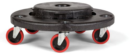 Rubbermaid Commercial FG264043 HDPE Brute Quiet Dolly for Container, 250 lbs Capacity, 18.25'' Diameter x 6.63'' Height, Black by Rubbermaid Commercial Products (Image #1)