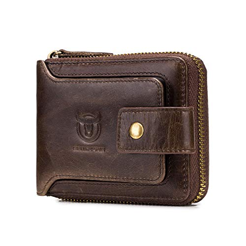RFID Bifold Men's Cowhide Leather Zip Around Wallet Vintage Travel Multi Card Holder Purses, Brown