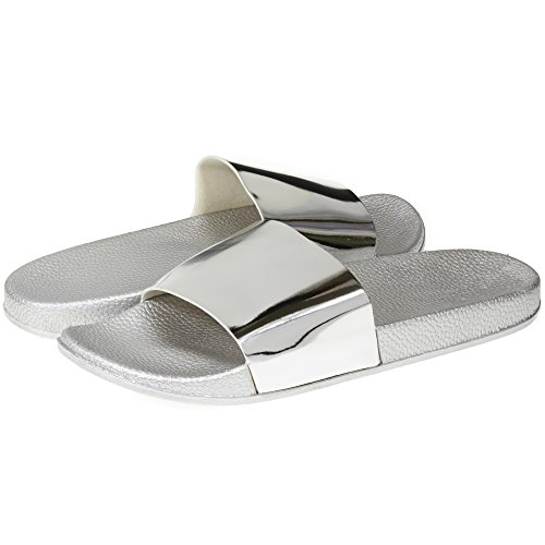 Metallic Soft Slip-On Slide Slippers Casual Lounge Street Fashion Open Toe Flat Sandal Size 9/10 Silver (Silver Slides)