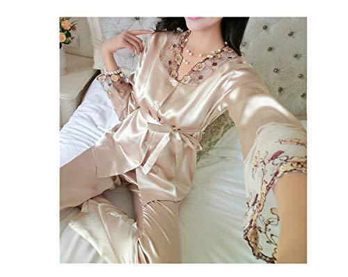 2018 Autumn Women Ladies Sexy Flower Lace Satin Silk Pajamas Sets Long...