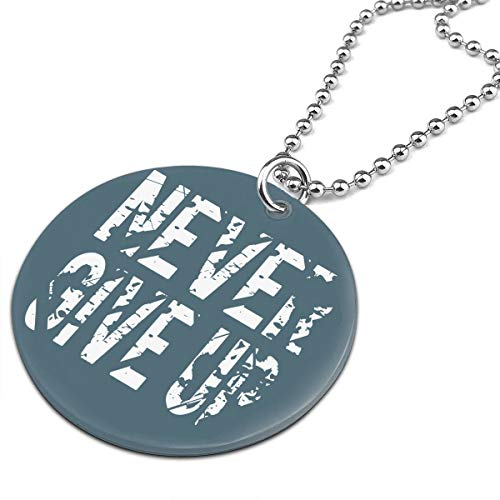 Gfiusgh Never Give Up Round Ornaments-Necklace Jewelry ()