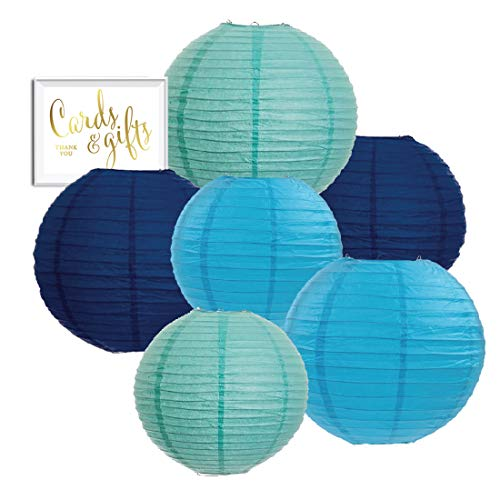 Andaz Press Diamond Blue, Turquoise, Navy Blue Hanging Paper Lanterns Decorative Kit, 6-Pack with Free Gifts Table Party Sign, Under The Sea, Ocean, Whale, Airplanes Birthday Party Decorations ()