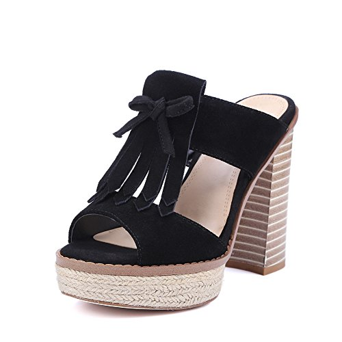 BalaMasa Womens Fringed Mini-Size Fashion Urethane Sandals ASL05080 Black XLcUrc