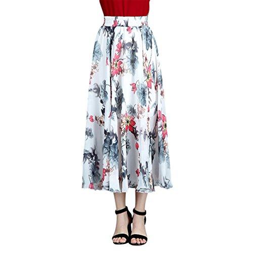 en Style6 Femme lastique t Casual Floral Plisse Longue Fluide en Dress Boho Plage imprim Jupe Bohme CHENYANG faw0UqHw