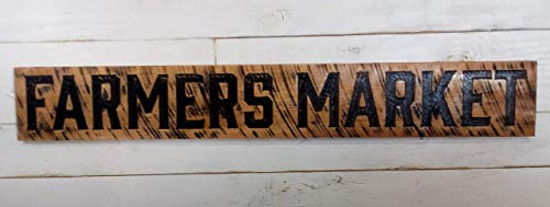 """Farmers Market stained Sign 55""""x8"""" Horizontal - Carved in a Wood Board Rustic Farmhouse Style"""