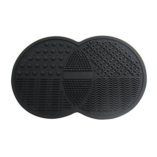 Happy Hours - Mini Double Round Silicone Gel Makeup Brush Cleaner Pad / Cosmetic Brushes Washing Scrubber Board Cleaning Mat Tool with Suction Cup Function for Homeuse and Travel(Black) (Shark Tank Products Nail Polish compare prices)
