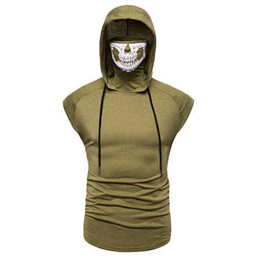 Men's Mask Skull Pure Color Pullover Sleeveless Hooded Sweatshirt Tops Blouse Army Green