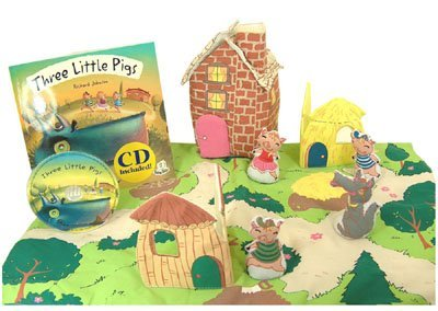 (Pockets of Learning Three Little Pigs Fabric Soft Play Set with Matching Pop-up Book and Read-Along CD for Toddlers and Children Cloth Activity Pretend Play Toy)