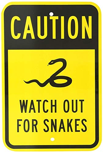 """Vincenicy Metal Sign Great Aluminum Tin Sign Watch Out for Snakes with Graphic Black on Yellow 12"""" X 8"""""""