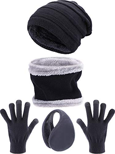 Tatuo 4 Pieces Ski Warm Set Includes Winter Hat Scarf Warmer Gloves Winter Outdoor Earmuffs for Adults Kids (Set 12)