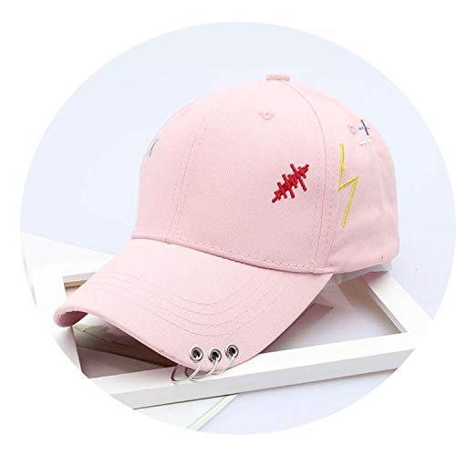 メンズ ソリッドカラー アイアンリングインテリアコットン帽子 シンプルな野球帽 ユニセックス,ピンク
