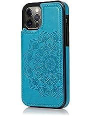 Lijc Hoesje voor iphone 12/iphone 12 Pro Dubbele Knop Mandala Reliëf PU-Leer Kaarthouders [Kaartsleuf] [Stand-Functie] Schokbestendige Flip Wallet Case Cover-Blauw