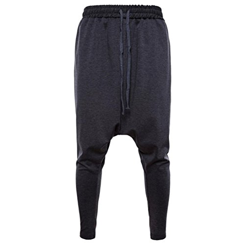 Spbamboo Men's New Pure Color Cotton Drawstring Elastic Waist Loose Sports Pants by Spbamboo