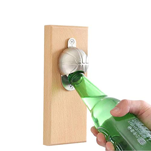 AUOKER Wall Mounted Bottle Opener Strong Magnetic Bottle Opener with Magnetic Cap Catcher, No Rust, Corrosion Resistance, Deformation and Durability, Interesting Basketball Style (Surface Ideas Uk Patio)