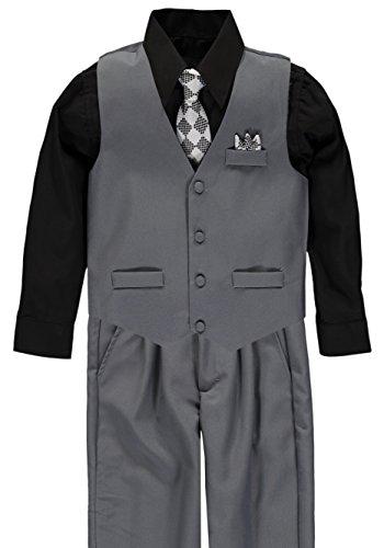 Vittorino Boys 4 Piece Suit Set (7, Grey/Black/White)