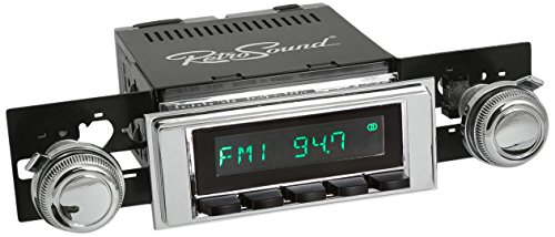 RetroSound M2CB-117-120-03-73 Model Two Direct-Fit Radio for Classic Vehicle (Chrome Face/Black Button and Chrome Bezel)