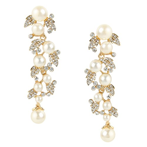 EVER FAITH Women's Austrian Crystal Cream Simulated Pearl Bridal Leaf Dangle Earrings Clear - Crystal Pearl Earrings Dangle