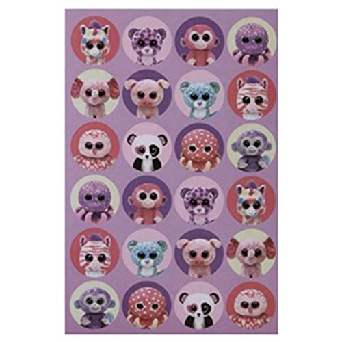 192 Mini TY Beanie BOOS Stickers Pink Purple Animals Girl Stickers (8 Sheets of 24) Zoo Safari Elephant Monkey Octopus Owl Teacher Classroom Motivation Stocking Stuffers Party Favors (Owl Beanie Boo Purple)