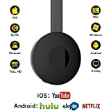 Wireless Wifi Display Dongle 1080P HDMI Mini Receiver,Miracast WiFi Media Streamer Adapter Support YouTube Netflix Hulu Plus Airplay DLNA TV Stick for Android/Mac/iOS/Windows