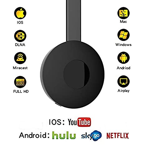 Wireless Wifi Display Dongle 1080P HDMI Mini Receiver,Miracast WiFi Media  Streamer Adapter Support YouTube Netflix Hulu Plus Airplay DLNA TV Stick  for