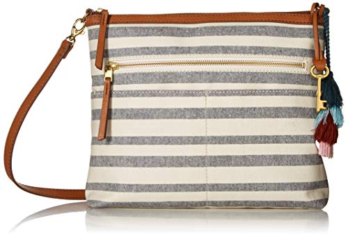 Fossil Fiona Crossbody Blue Stripe, Grey Pattern (Fossil Pattern)